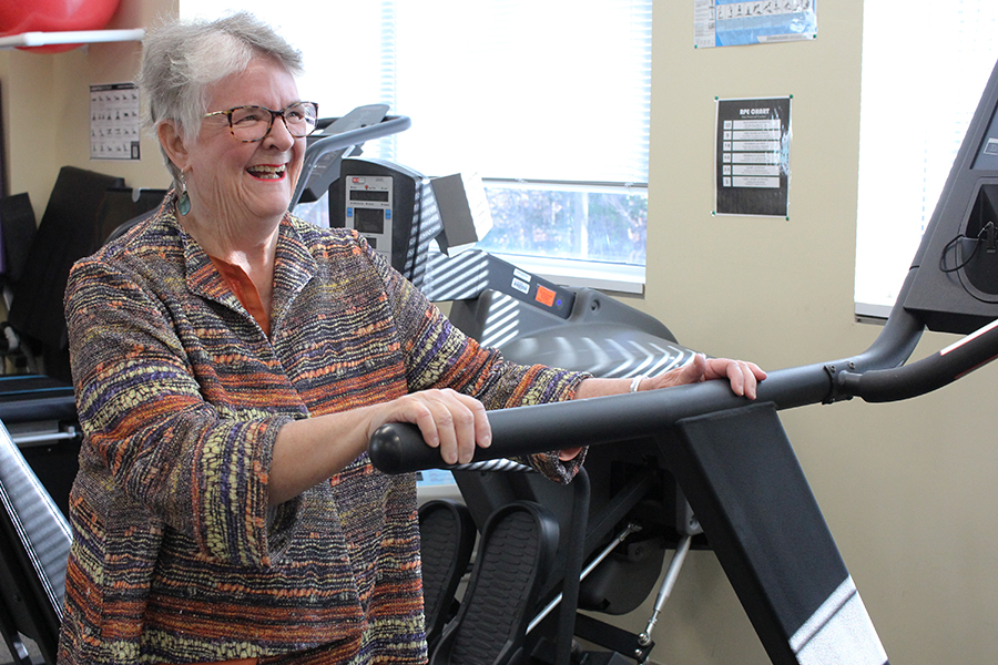 Woman rehabbing on treadmill